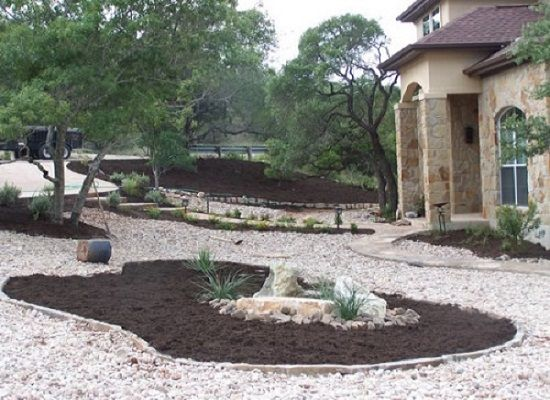 Modern rock landscaping ideas front yard for the home for Decorative boulders for yard