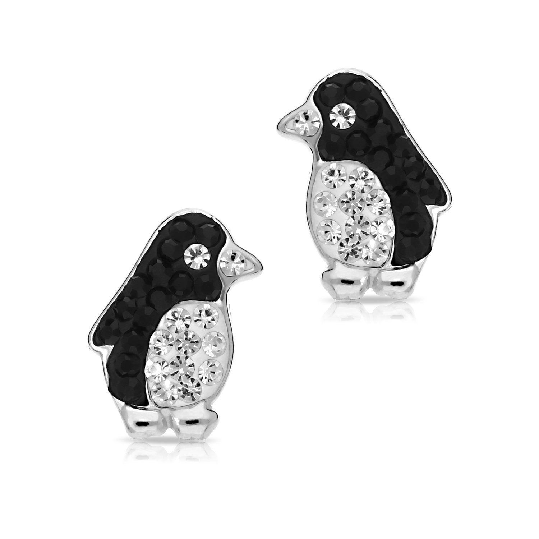 Girls Bird Crystal Ear Studs 925 Sterling Silver