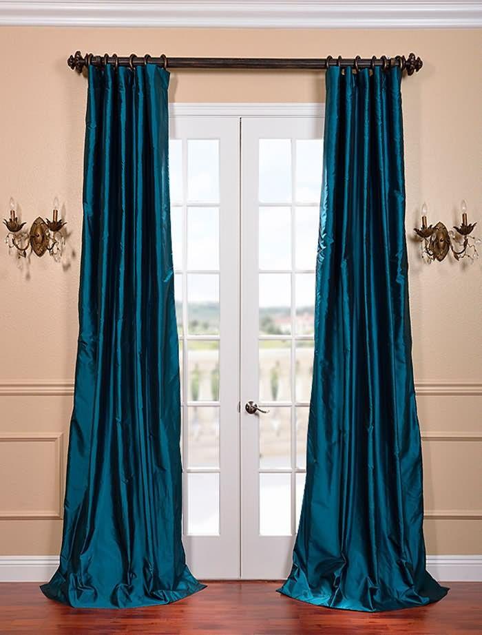 Tahitian Teal Silk Taffeta Curtain   Custom