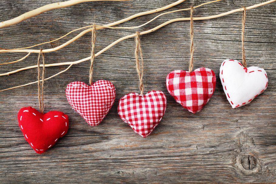 Herzen, Stoff, Figuren, rot, weiß, Threads, Seile, Planken Vektorgrafik