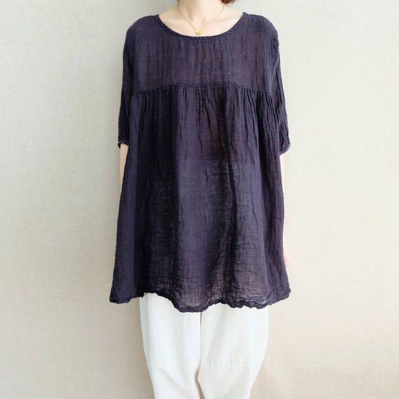 ac576d8dd5 Women Leisure Tops Comfortable Tops Summer Linen Simple Blouse ...
