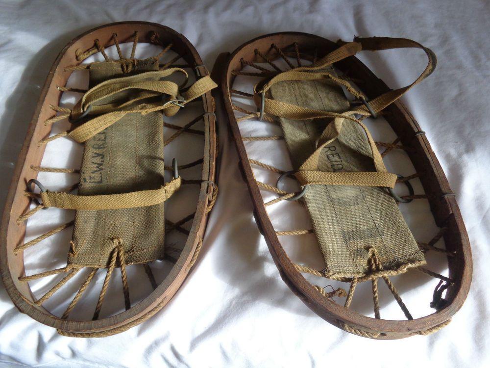 WW2 RAF Militaria Land Gear Wooden Bear Paw Snowshoes LT