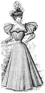 Victorian Lady Vintage French Fashion Elegant Dress Clipart 1896 Antique Gown Illustration