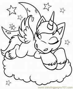 Printable Colouring Baby Unicorn Coloring Pages