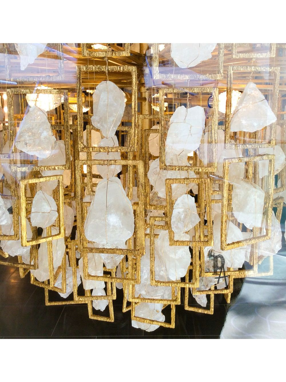 Gold Leaf And Chucks Of Quartz Crystals Rocking The Petra Bel Air Lighting Fixture By Wired Designs