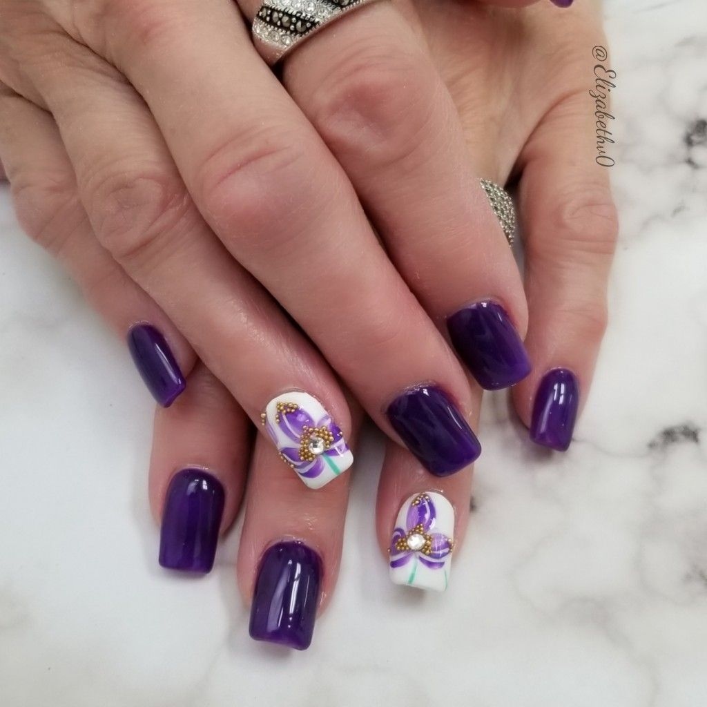 Purple Flower Nails Bling Nails Nails Flower Nails