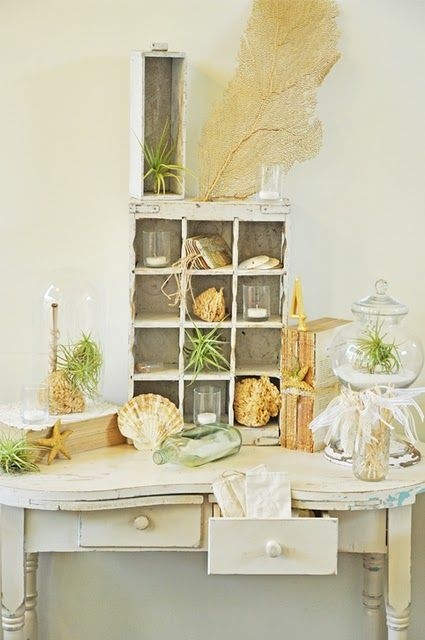 love this table - shadow box w/other decorations - just rustic instead of beachy