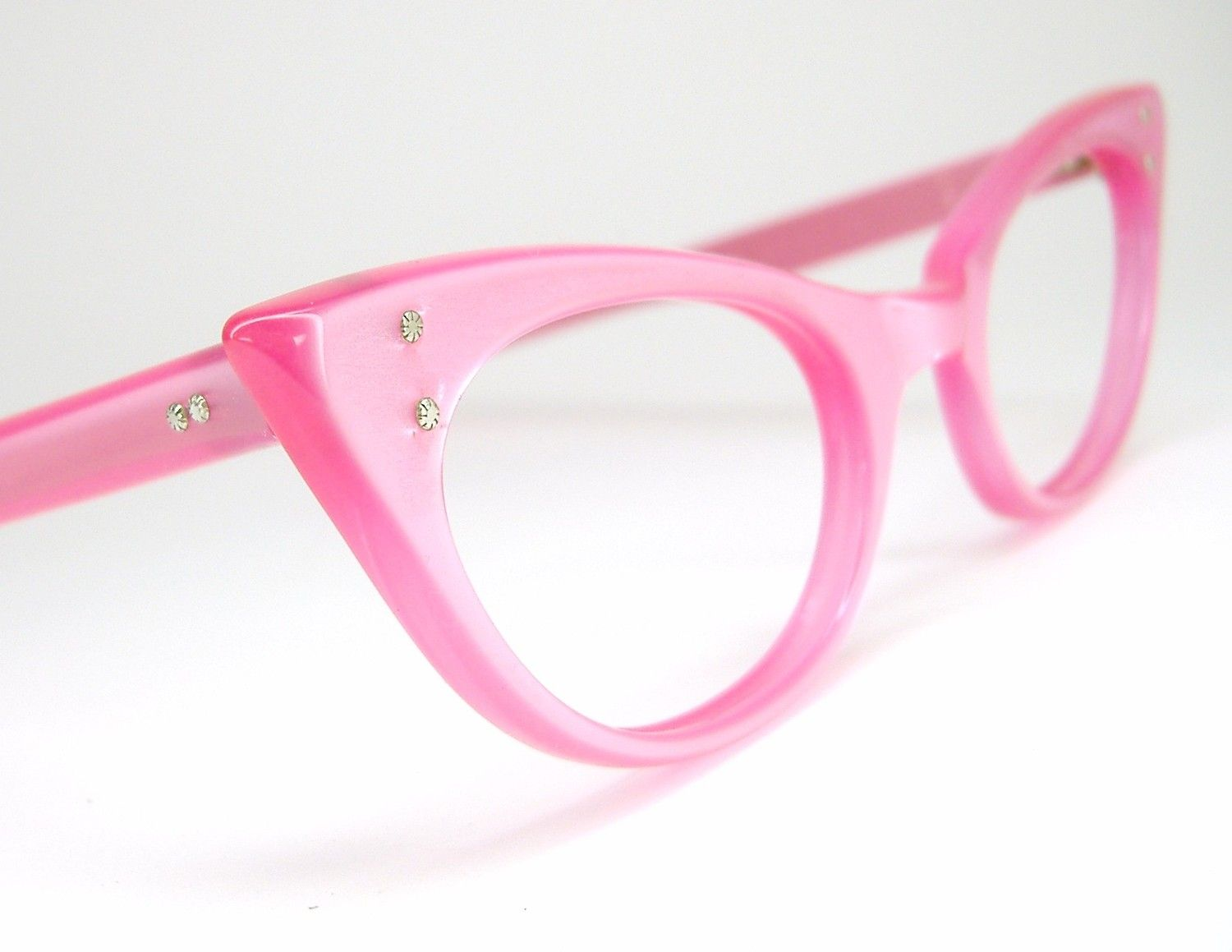 Vintage Eyeglasses Pink Pointy Cat Eye Frame NOS | Four Eyes ...