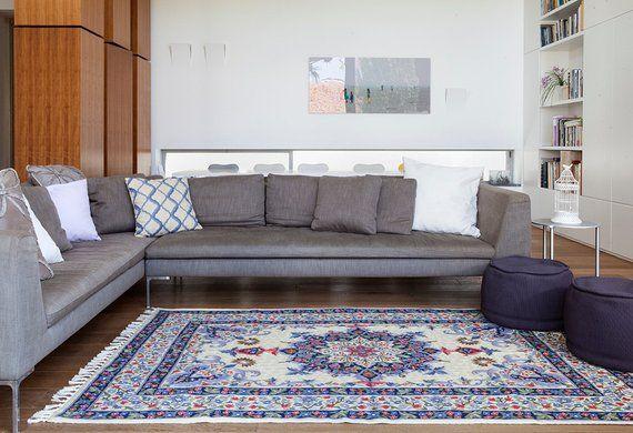 5x8 Blue Wool Rug Beautiful Oriental Rug Design Perfect Living