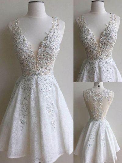 Short white homecoming dress,homecoming dress with lace,cute homecoming dress,simple homecoming dress,freshman dress,PD2110306