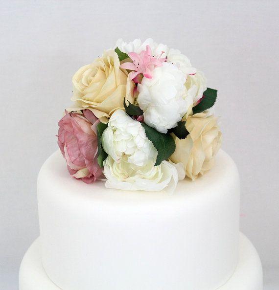 Silk Flower Wedding Cake Toppers: Wedding Cake Topper White Peony Blush Pink, Ivory Rose