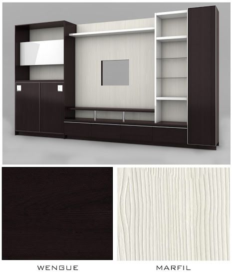 Mueble sala tv estructura en melamine color wengue y for Puertas color wengue
