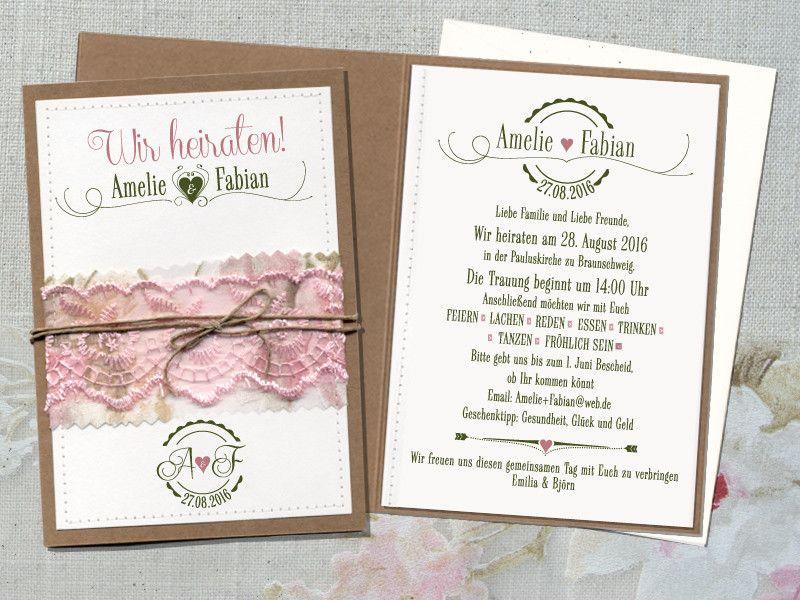 Hochzeitseinladung Lovely Wedding Rosé + Umschlag ...