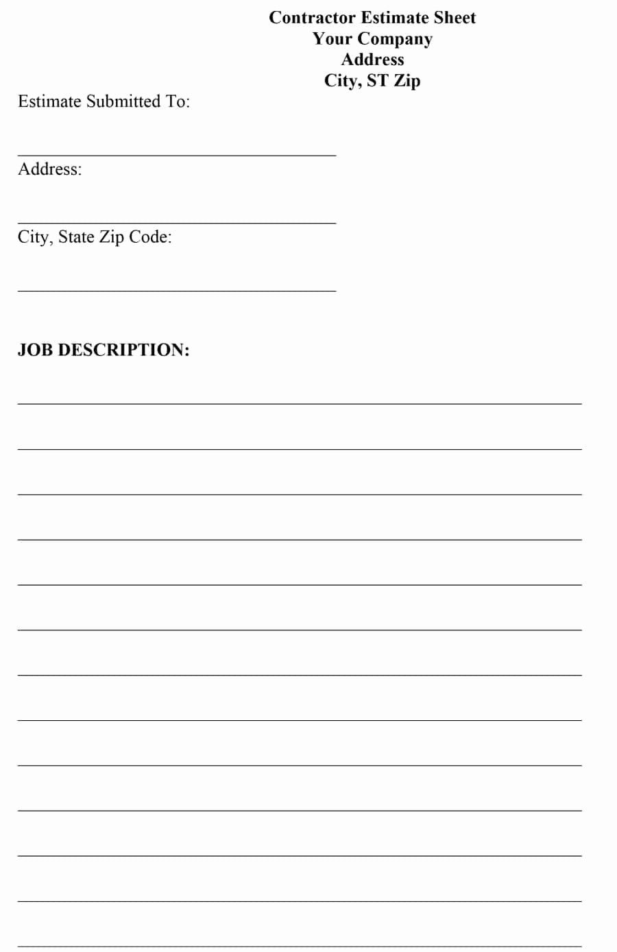 Construction Contract Template Free Download Fresh 44 Free Estimate Template Forms Construction Re Estimate Template Free Brochure Template Proposal Templates