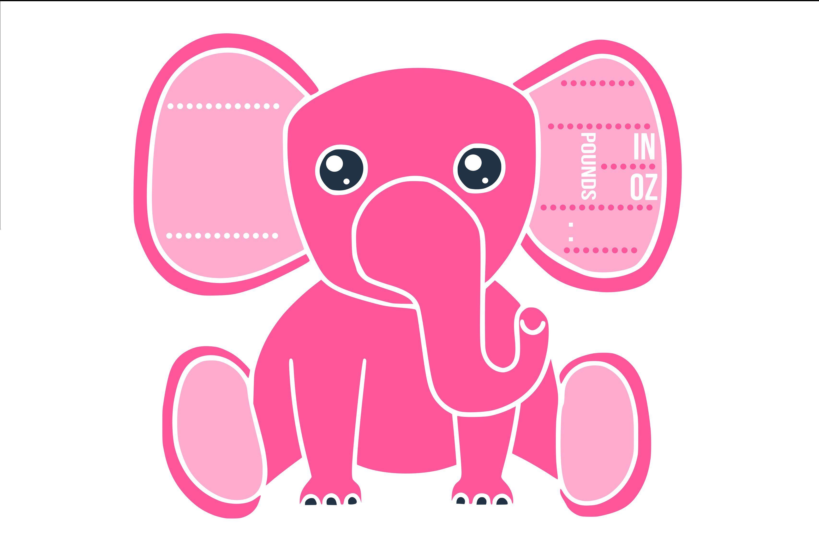 Birth stats elephant svg, baby girl DesignerEdition