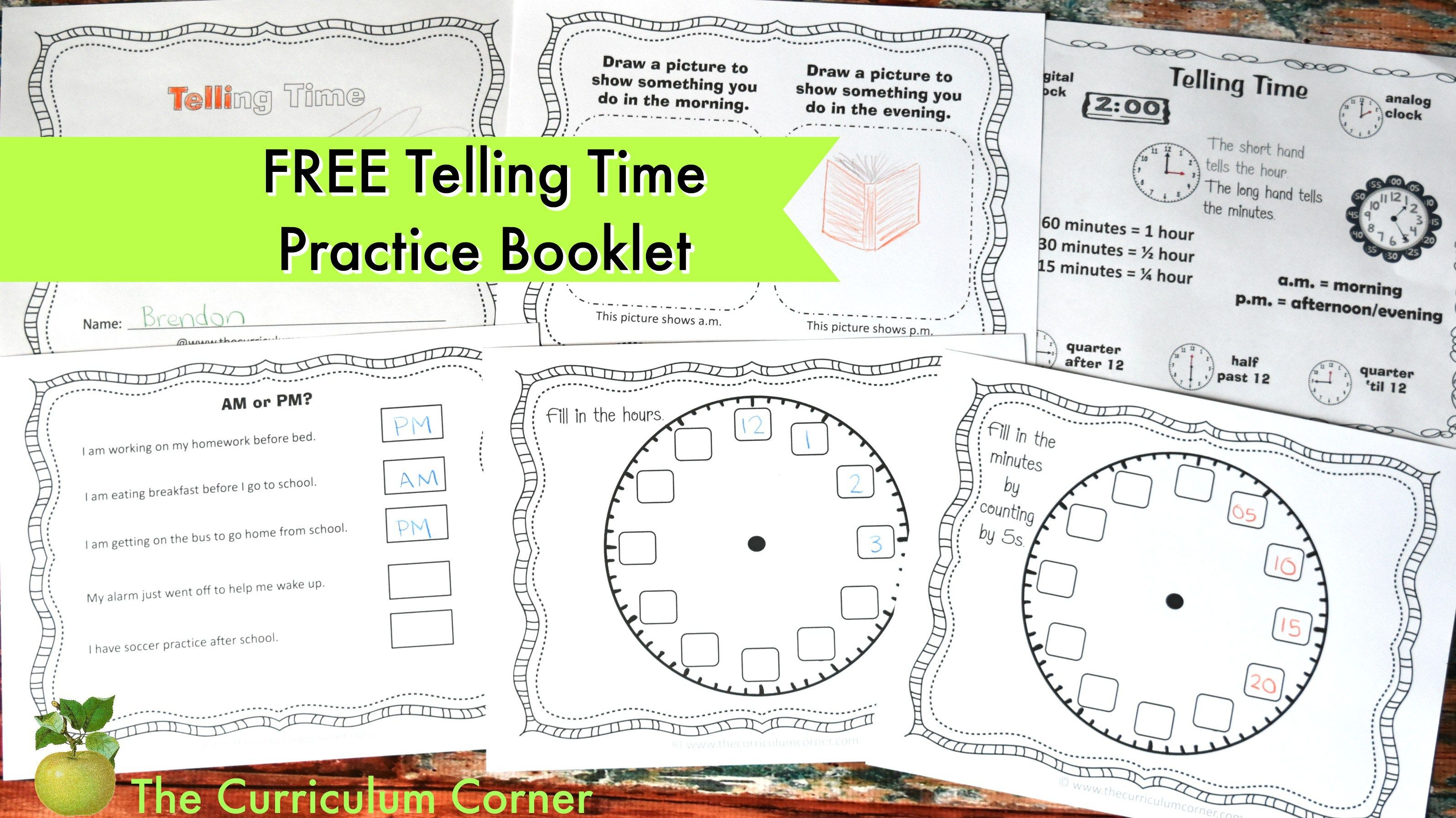 Telling Time Practice Booklet 2