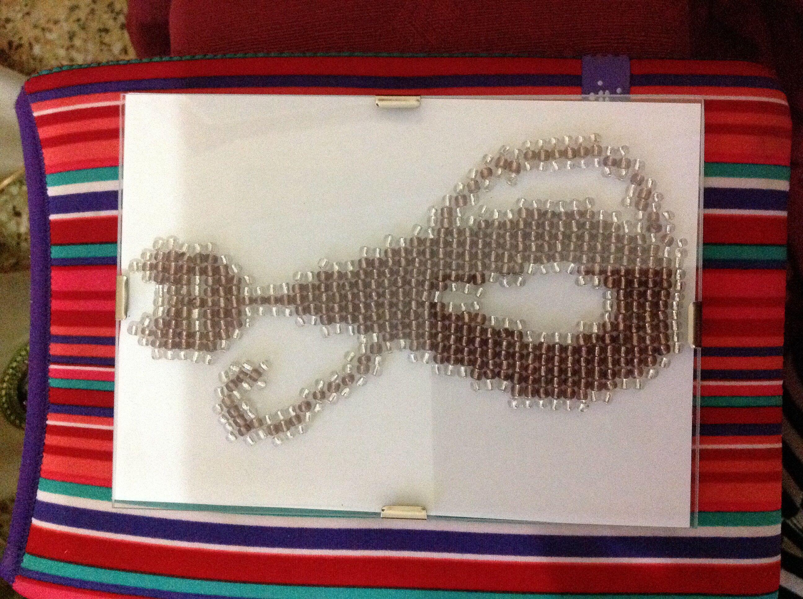 Perler beaded cat frame