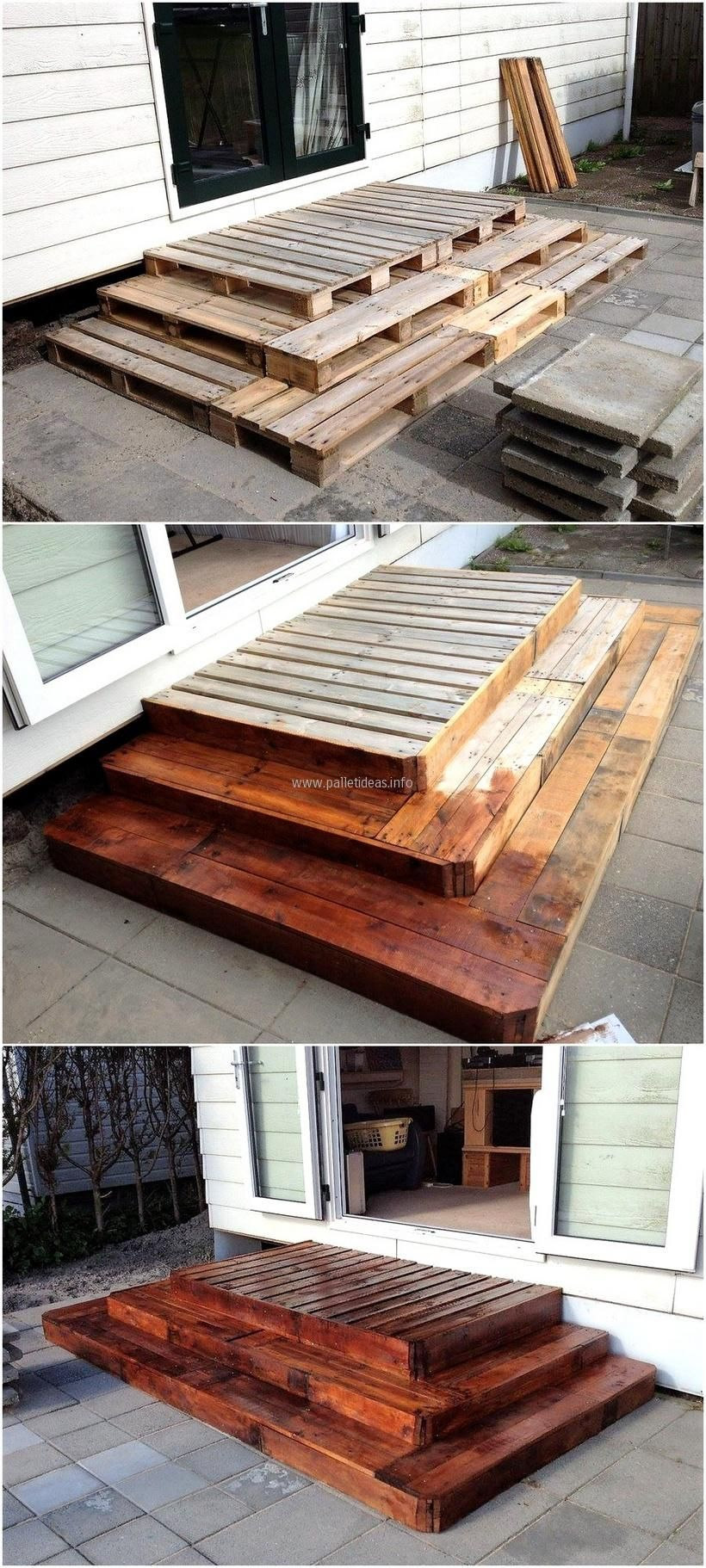 Should we tear down the deck and go with a large patio - I like this pallet idea for steps