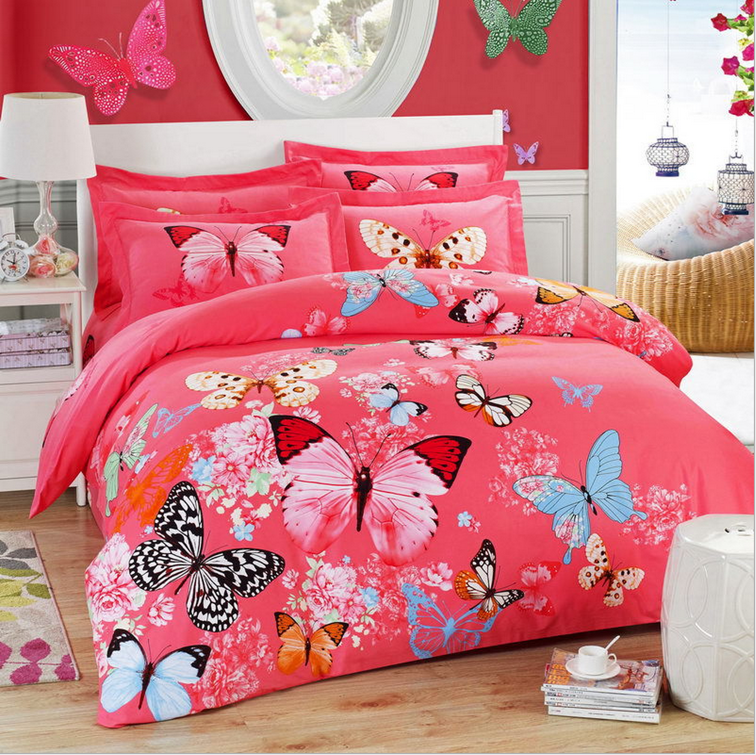 Luxury bedding set with flowers red with butterflies for Articulos decoracion casa