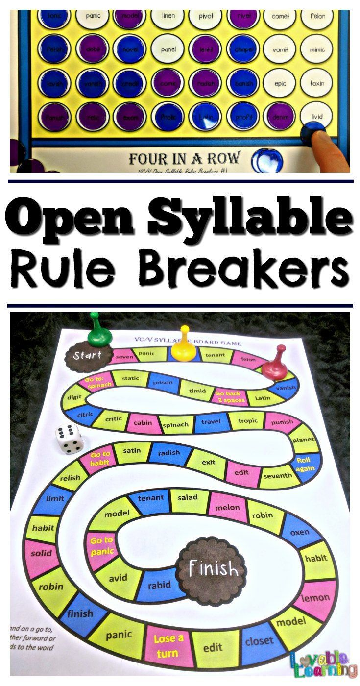 Syllable Types Vcv Open Syllable Rule Breakers Word Work