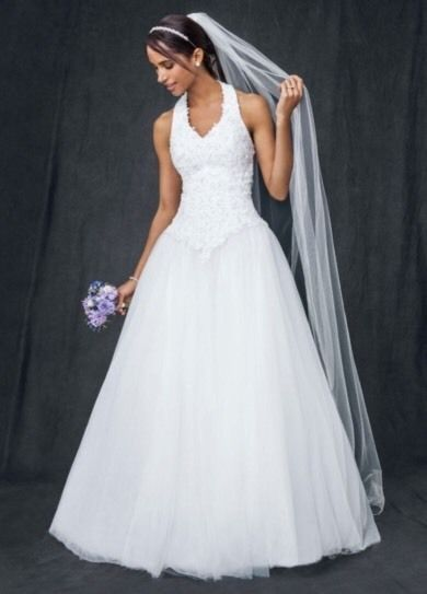 41f71ffb751 Details about Size 8 white halter top Wedding Dress Satin Beads ...