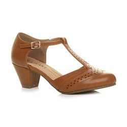e07ef48938e3 Womens Ladies mid Block Heel t-Bar Cut Out Buckle Brogue Shoes Sandals Size  5 38