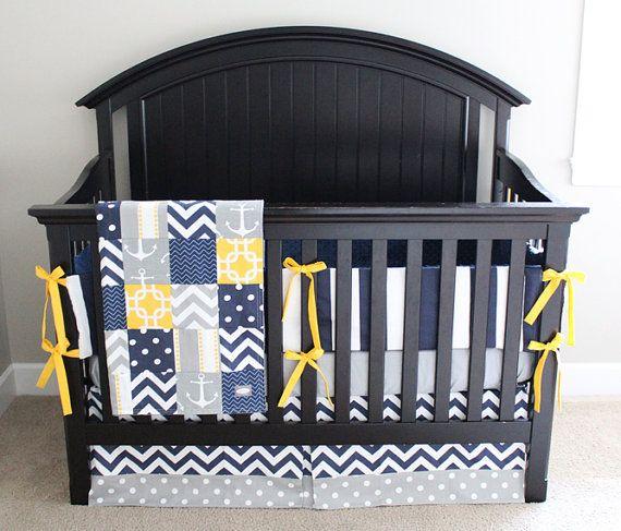 Nautical Crib Bedding Yellow Navy Blue And Grey Baby Boy Bedding