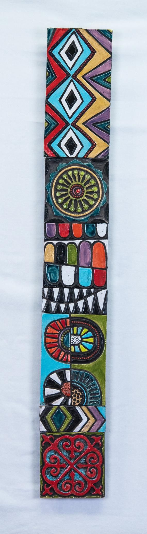 Global Folk Sticks Your Choice Of Pattern Handmade Tile Wall Art