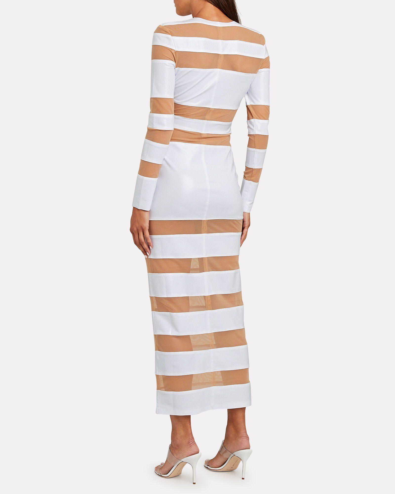 Splice Striped Sheer Knit Dress Knit Dress Striped Knit Dress Designer Knit Dresses [ 2000 x 1600 Pixel ]