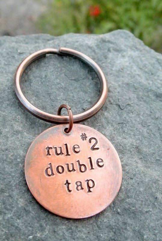 Zombie Rules Key Chain Double Tap Hand Stamped by hoptimystic, $14.00