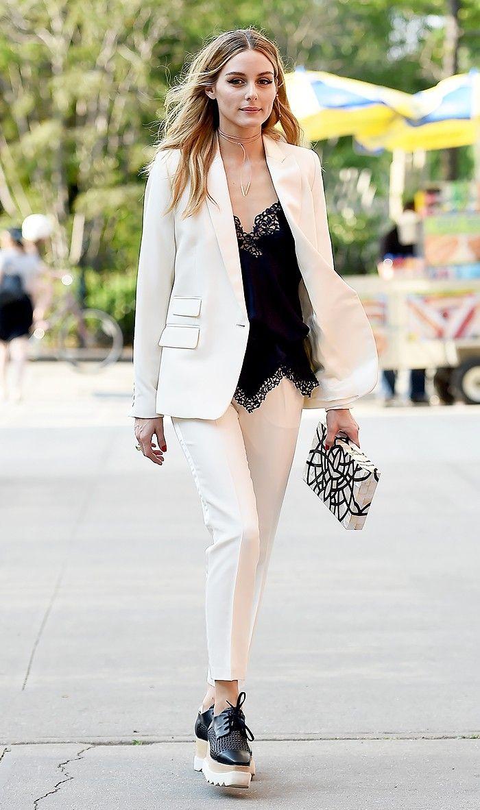 Milly Slim-Fit One-Button Blazer ($450); Milly Nicole Cropped Italian Cady Pants ($295); Nathalie Trad Dysdera Box Clutch ($1700); Stella McCartney Elyse Woven Lace-Up Platform Sneaker ($1065).