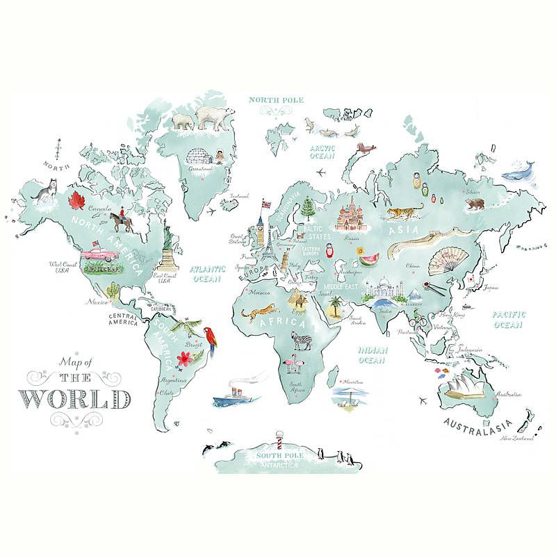 Alice tait illustrated world map print mapas fondos de pantalla alice tait illustrated world map print gumiabroncs Image collections