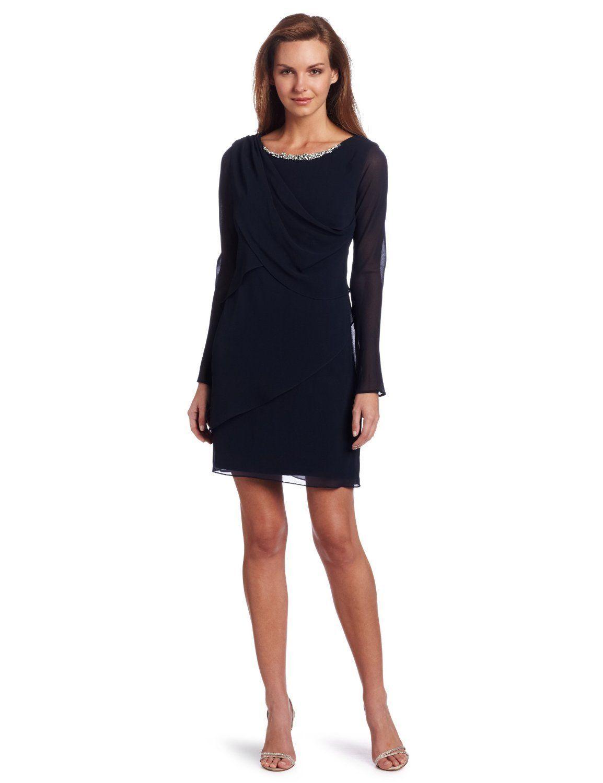 0274b35c5cb Anne Klein AK Evan-Picone Navy Chiffon Drape Front Sheer Sleeve Dress | eBay