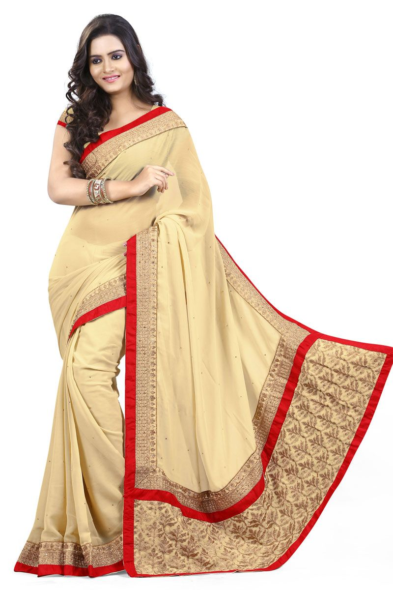 e00962f376 Golden with red border Color Simple and Sober Partywear Saree ...
