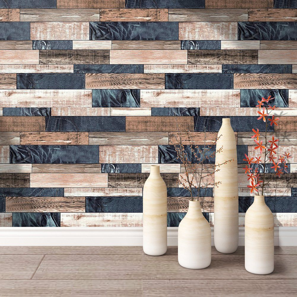 HaokHome 171101 Distressed Faux Wood Plank Wallpaper