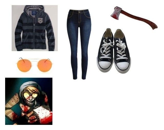 """""""ticci toby gender bend"""" by mythical1005 ❤ liked on Polyvore featuring American Eagle Outfitters, Converse, genderbend, creepypasta and ticcitoby"""