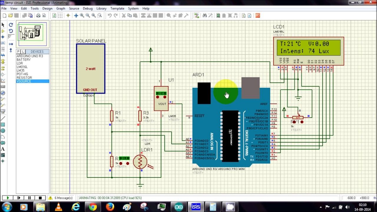 VIdeo - : Solar Energy Measurement Using Arduino and Proteus
