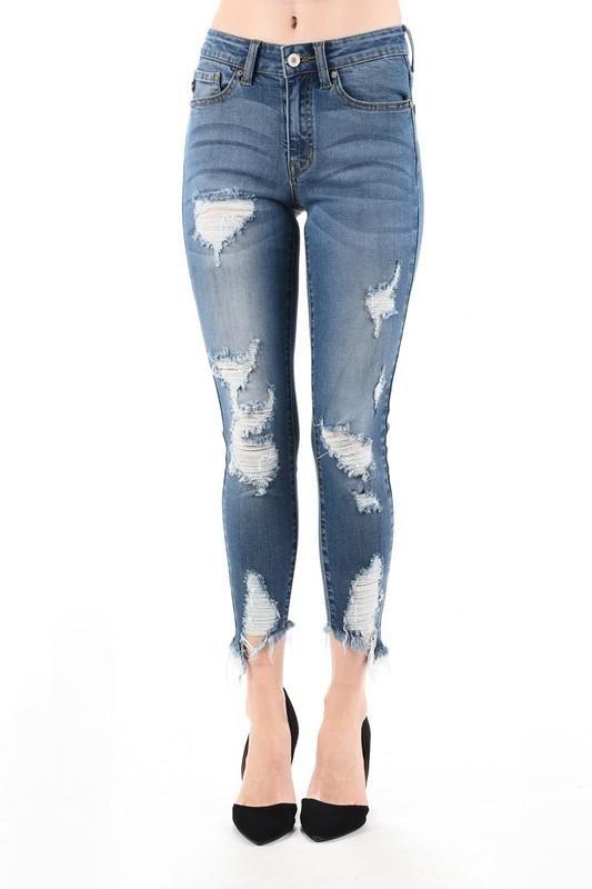 Destroyed Medium Wash Skinny Jean