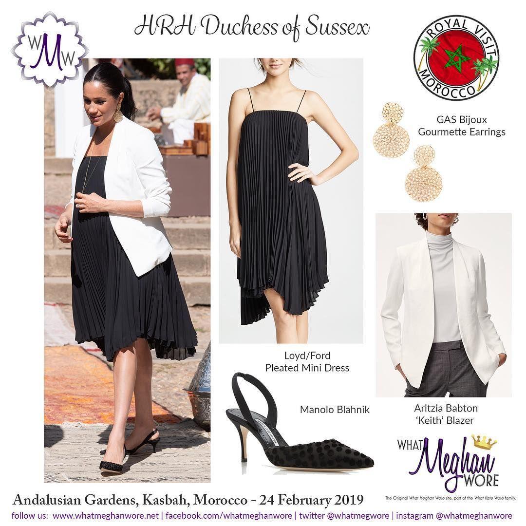 What Meghan Wore On Instagram Meghan Rocks The Kasbah In Asymmetric Hemlines Pleats And Polka Dots Royalvis Meghan Markle Style Fashion Pleated Mini Dress