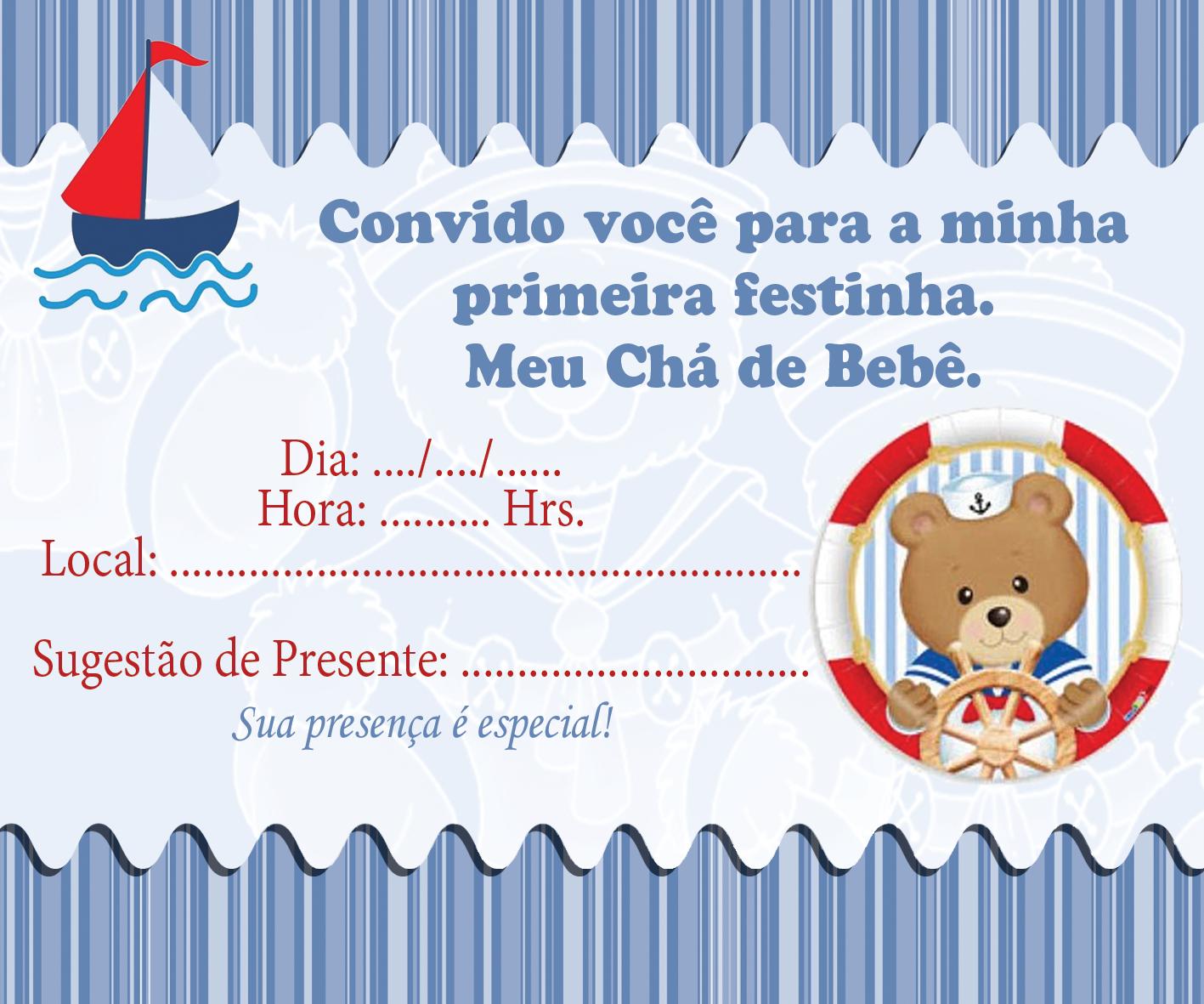Tag Chá De Fraldas Convite Ursinho Marinheiro