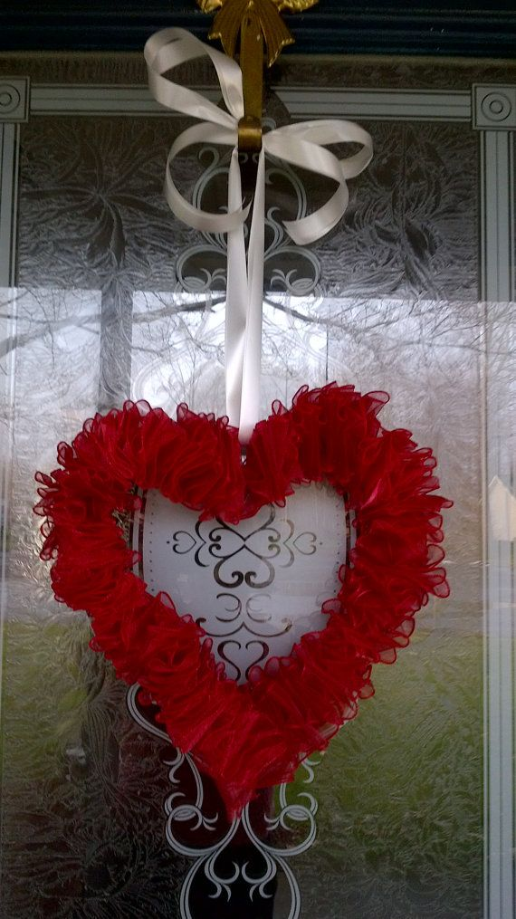 Valentine heart red and white ribbon door wreath by websail, $25.00