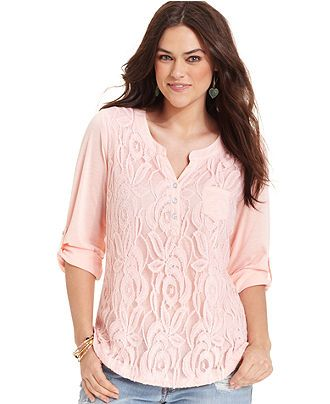 47a48ab9723 Belle Du Jour Plus Size Top, Lace Front Henley - Plus Size Tops ...