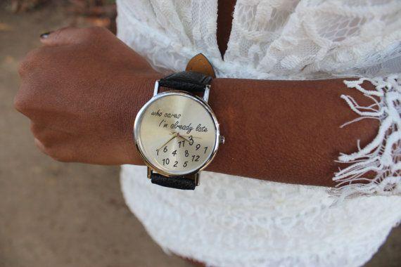I'm Already Late Vintage Fashion Wristwatch door DancingintheMeadow