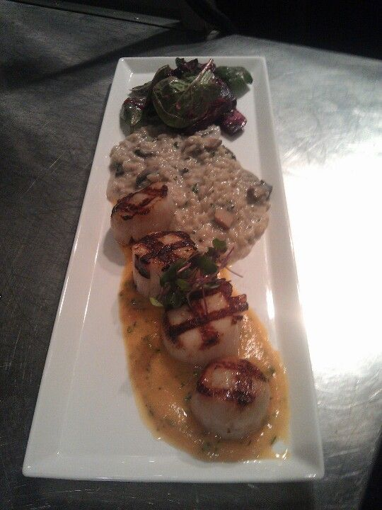 Grilled Scallops, butternut squash puree, mushroom rizzo, beet salad