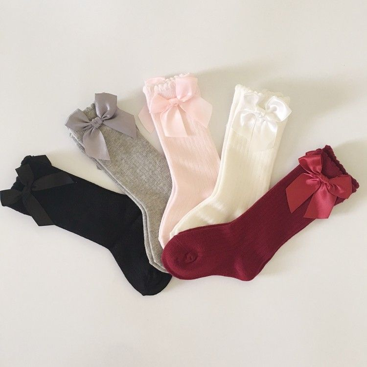 36c9f3822 Baby Girls Socks Knee High with Bows Princess Vertical Stripes ...
