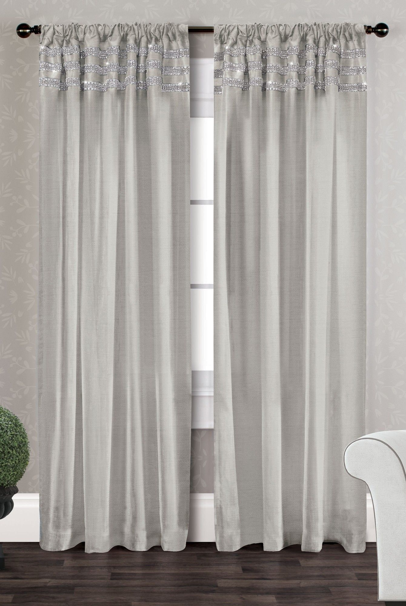 Amalgamated Textiles Bling Curtain Panel Set Of 2 Curtains Panel Curtains Striped Room