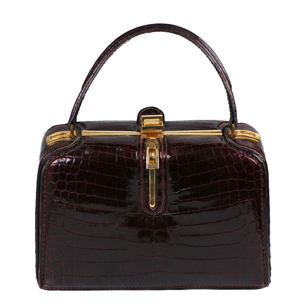 Iconic Desgranges Alligator Box Bag | From the 1970s, rare vintage handbags and purses, lovingly detailed and finished. https://www.1stdibs.com/fashion/accessories/handbags-purses/