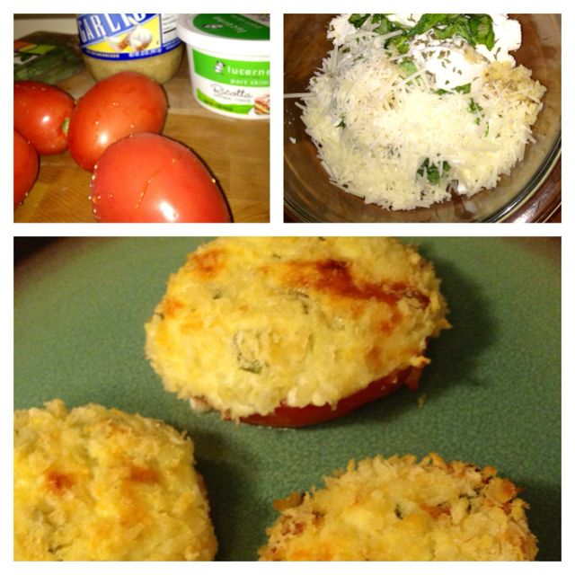 Ricotta & herb stuffed roma tomatoes , loosely followed the attached link, but added mozzarella and Parmesan cheeses ..