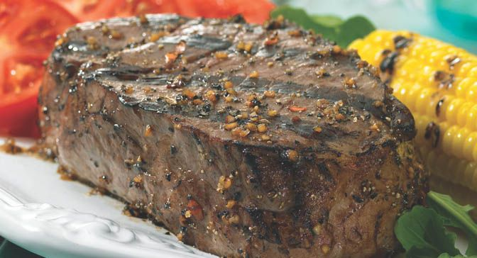 Shake on Grill Mates® Montreal Steak Seasoning, a robust blend of coarsely ground peppers, garlic and spices, for bolder tasting steaks.