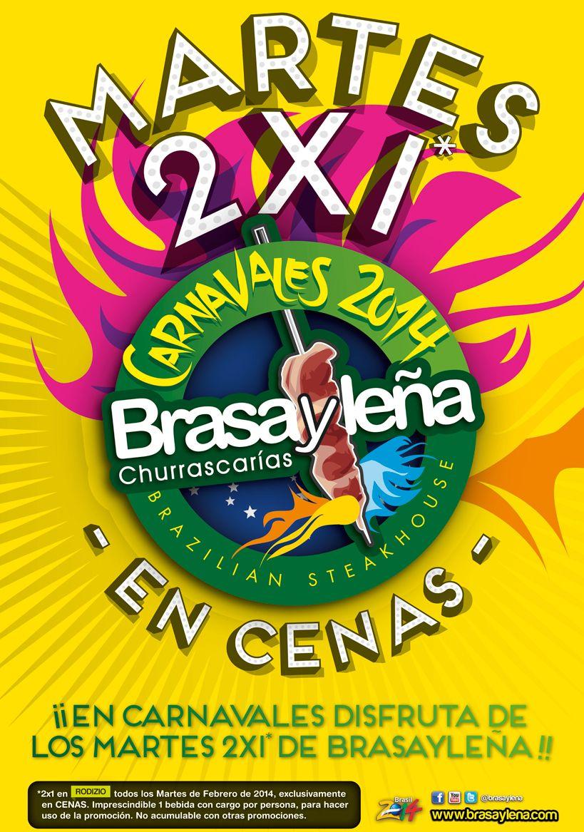 ¡Disfruta del 2x1 en rodizio de nuestro restaurante Brasa y Leña durante todos los martes de Febrero!
